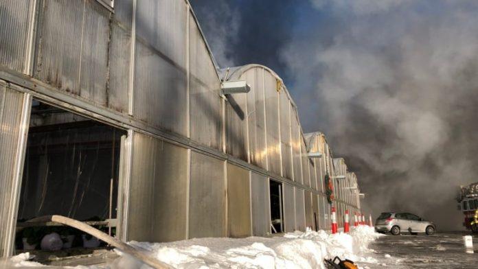 Pożar szklarni w Laval
